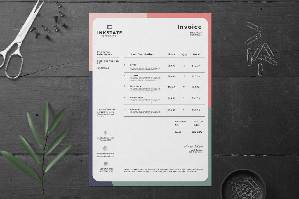 invoice sitting neatly on desk with paperclips, scissors, push pins